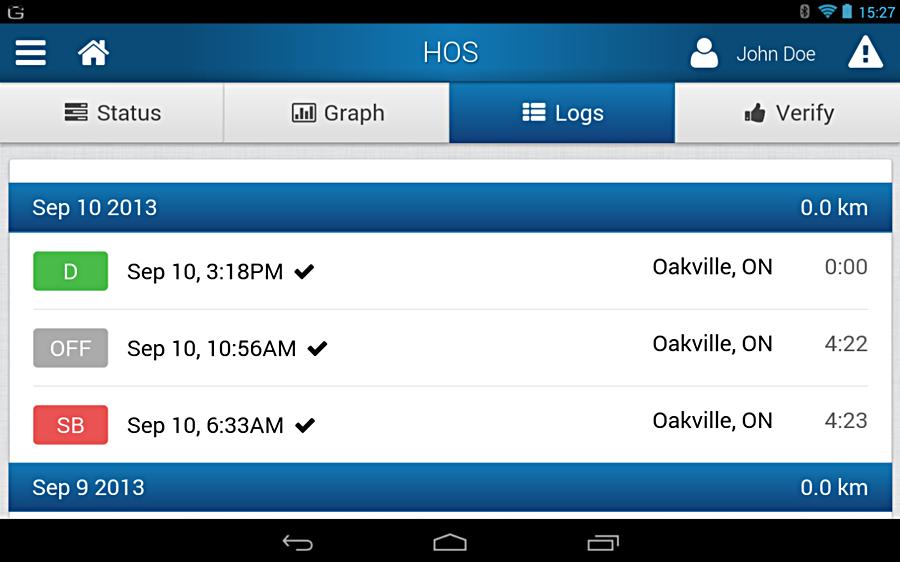Geotab Drive App Hours of Service